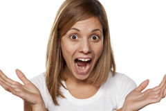 Horrified woman Royalty Free Stock Photography