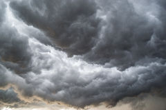 Horrifine clouds moving ahead of storm. Horrifine clouds moving ahead of the storm being situated close to the ground stock photography