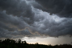 Horrifine clouds moving ahead of storm. Horrifine clouds moving ahead of the storm being situated close to the ground stock photo