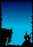 Horror. A blue gradient background with a vampire and  vampire's castle. This file ist also available as illustrator-file Stock Image