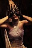 Horror. Shot of a twilight girl in white dress. Halloween, horror royalty free stock photos