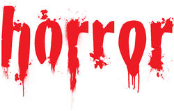 Horror. Text illustration with blood splats running down the letters Royalty Free Stock Image