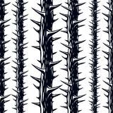 Horror art style horrible seamless pattern, vector background. B. Lackthorn branches with thorns stylish endless illustration. Hard Rock and Heavy Metal Royalty Free Stock Image