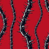 Horror art style seamless pattern, vector background. Blackthorn. Branches with thorns stylish endless illustration. Hard Rock and Heavy Metal subculture music Stock Photo