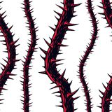 Horror art style seamless pattern, vector background. Blackthorn. Branches with thorns stylish endless illustration. Hard Rock and Heavy Metal subculture music Royalty Free Stock Images