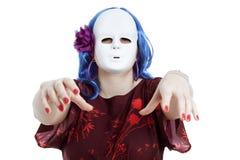 Horror assustador mulher mascarada foto de stock