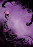 Horror background with grunge flowers and a spider web. Horror violet background with grunge flowers, splashes, scratches, spots, sinister silhouettes of hands Royalty Free Stock Image