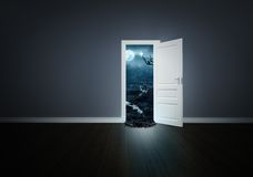Horror behind the door Royalty Free Stock Photo