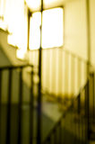 Horror blurry stairs scene. Abstract conceptual scary blurry stairs view Stock Photos