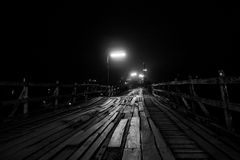 Horror bridge. The blurry image of old wooden bridge. Processed by add noise and grain to looked horror mode royalty free stock photos
