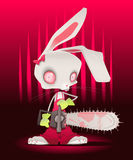 Horror bunny with background. Vector and cartoon illustration Royalty Free Stock Photography