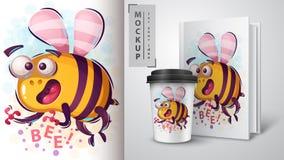 Horror cartoon bee - mockup for your idea. Vector eps 10 royalty free illustration