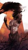 Horror creature. Comic style fantasy horror monster illustration royalty free illustration