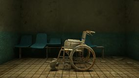 Horror and creepy wheelchair moving in front of the examination room in the hospital.3D rendering