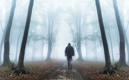 Horror dark man in silhouette in foggy forest Stock Photo