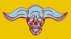 Horror demonic skull with bullish horns. vector illustration Stock Photo