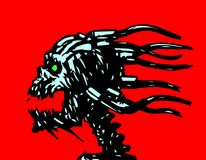 Horror demonic skull with wires. Vector illustration. stock illustration