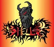 Horror devil demon in flames illustration Stock Image