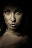 Horror emotion dark girl face Stock Photography
