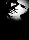 Horror Face Template. Black template with a creepy male face. For horror theme posters and artworks Royalty Free Stock Photos