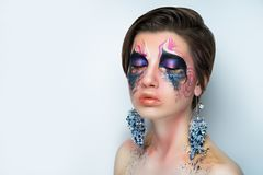 Horror fashion make up stock image