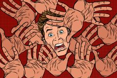 Horror fear background, hands and frightened face Stock Photos