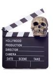 Horror film movie clapper board cutout. Horror film movie clapper board studio cutout Stock Photos
