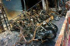 Horror fire, burned vehicle, Ho Chi Minh city Stock Image
