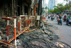 Horror fire, residence Ho Chi Minh city Royalty Free Stock Images
