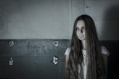 Horror girl in white dress Stock Image