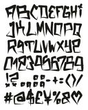 Horror Graffiti Fat Cap Freehand Vector Font With Uppercase Letters, Numbers & Signs Royalty Free Stock Image