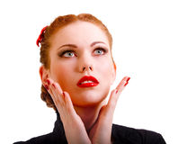 Horror grimace. Magnificent woman in big surprise has lifted hands to face Stock Photo