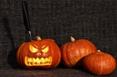 Horror halloween pumpkin with a knife. In the head Stock Image