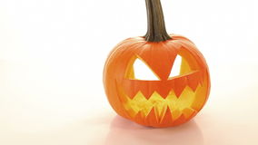 Horror halloween pumpkin, scary jack o lantern stock video