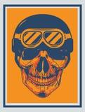 Horror head Skull with helmet in dark orange background. Horror head Skull smileing with helmet in dark orange background Royalty Free Stock Photos