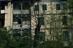 Horror house in  dark dramatic atmosphere royalty free stock image
