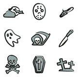 Horror Icons Freehand 2 Color Stock Photography