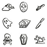 Horror Icons Freehand Stock Photo