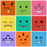 Horror icons set faces and characters Stock Photography