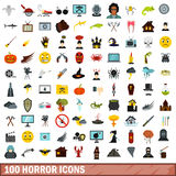 100 horror icons set, flat style Stock Photos