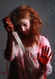 Horror Image With Bleeding Freightened Woman Stock Photos