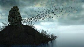 Horror island in ocean. devilish screaming skull. Halloween concept. Hell. Royalty Free Stock Photo