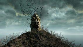 Horror island in ocean. devilish screaming skull. Halloween concept. Hell.