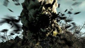 Horror island in ocean. devilish screaming skull. Halloween concept. Hell. stock video footage