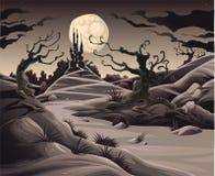 Horror landscape. Cartoon and illustration royalty free illustration