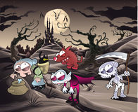Horror landscape with characters. ìì. Horror landscape with characters. Cartoon and  illustration Stock Photo