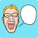 Horror man face with speech bubble Stock Photography