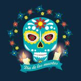 Horror mask with candles and flowers to mexico event. Vector illustration vector illustration