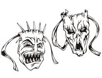 Horror masks. Set of black and white vector illustrations Stock Photography
