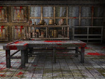 Horror morgue. Spooky morgue with a table and floor covered in blood Stock Photography